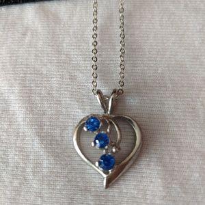 "Sapphire heart on 18"" chain"